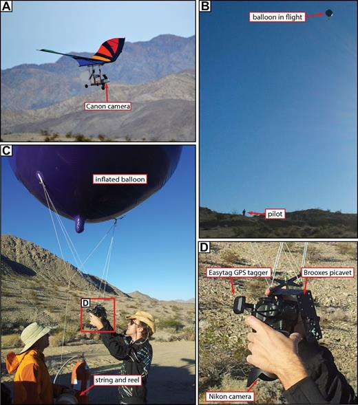 Photographs showing the two camera platforms discussed in this paper. (A) Motorized glider in flight. (B) Helium balloon in flight with pilot for scale. (C) Balloon in preparation. (D) Close-up of camera and harness (picavet). GPS—global positioning system.