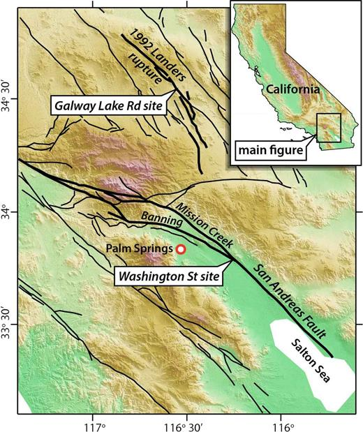 Quaternary fault map of southern California showing locations of the Washington Street and Galway Lake Road (see inset for location of main map). Faults are from the U.S. Geological Survey Faults and Folds database (Haller et al., 2004). The San Andreas fault and Landers earthquake rupture are highlighted in bold. The Washington Street site is on the Banning strand of the San Andreas fault, ∼2 km southwest of the Mission Creek strand and ∼8 km northwest of where these two strands merge.