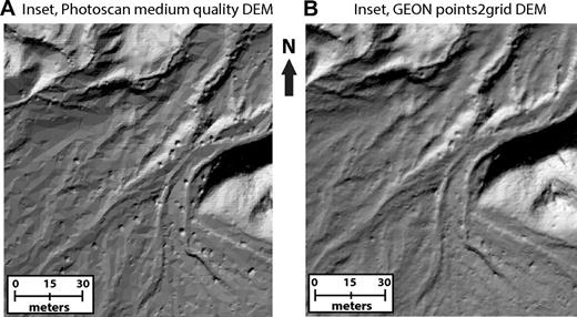 (A) Structure from motion (SfM) digital elevation model (DEM) of the Washington Street site (San Andreas fault) built in Photoscan at the medium-quality setting shows polygonal artifacts. The extents of this figure are the same as in Figures 6C and 6D. (B) SfM DEM built from the same Photoscan point cloud but now gridded with GEON points2grid (Kim et al., 2006), removing the polygonal artifacts. After experimentation, a 0.08 m node spacing with a 0.10 m search radius and inverse distance weighting allowed us to achieve fine detail without leaving holes.