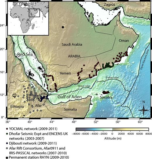 Topographic and bathymetric map of the study area. The locations of the seismic stations from different temporary networks used in this study are indicated by circles. Expt—experiment; YOCMAL—Young Conjugate Margins Laboratory in the Gulf of Aden; IRIS-PASSCAL—Incorporated Research Institutions for Seismology Program for Array Seismic Studies of the Continental Lithosphere.
