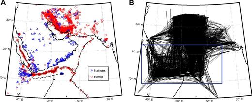 (A) Map of stations (blue triangles, temporary networks, and catalogues) and seismic events (red circles) used for the inversion; 3778 events and 352 stations were used. (B) Pn rays used for the inversion; 52,947 rays were selected. Only the results of the blue rectangle area are discussed in this study.