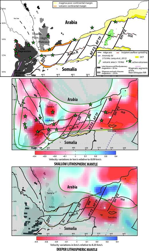 Superposition of the velocity images of the shallow lithospheric mantle (SLM; middle) and deeper lithospheric mantle (DLM; bottom) on a map of magmatic and volcanic activity (top; modified from Ebinger et al., 2008; Leroy et al., 2010, 2012). Aden R—Aden Ridge, ShR—Sheba Ridge, SSFZ—Shukra el Sheik fracture zone, KI—Kanshar-Irqah, XM—Xiis-Mukalla, BM—Bosaso-Masila, AFFZ—Alula-Fartak fault zone, AFTF—Alula-Fartak transform fault, SHFZ—Socotra Hadbeen fault zone, OCT—ocean-continent transition, An 5d—magnetic anomaly corresponding to 17.6 Ma. The surrounding green line delimits the area of 4° resolution, and the inside green line delimits the 2° resolution area.