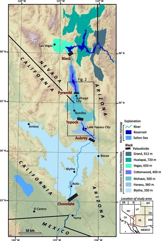 Map showing regional setting of Mohave and Cottonwood Valleys in the lower Colorado River Valley. Inferred areas of paleolakes and modern water bodies are shown with shades of blue. Heavy black lines show locations of inferred paleodams relevant to this paper.
