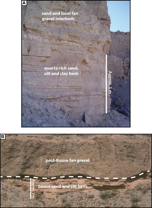 Upper fluviodeltaic Bouse deposits in Secret Pass Canyon. (A) In the eastern, highest part of the exposure, Bouse sands are interbedded with locally derived gravel layers and lenses, and grade upward into fanglomerate. The base of this exposure is ∼430 m above sea level (asl). (B) Farther west and slightly lower, the contact between Bouse deposits and overlying fanglomerate is clearly erosional.