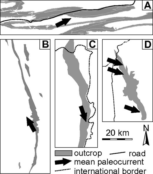 Simplified outcrop patterns of large-scale (>2500 km2) exhumed deep-water systems that have been mapped and correlated from updip to downdip. All maps are at the same scale. (A) The Laingsburg depocenter (Karoo Basin, South Africa), including the Laingsburg and Fort Brown Formations. (B) The Pab Sandstone (Pakistan; adapted from Eschard et al., 2003). (C) The Tres Pasos Formation (Chile; adapted from Shultz et al., 2008). (D) The Brushy Canyon Formation (Texas, USA; adapted from Gardner et al., 2003). Note the orientation of the outcrop belt relative to mean paleocurrent direction. The postdepositional folding in the Karoo Basin provides good strike and dip outcrop control.