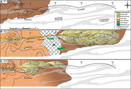 Thickness isopach and gross depositional environment maps for the individual constituent lowstand systems tracts (F1, F2, and F3) of the Unit F lowstand sequence set. Positions of channels are tied to outcrop location, but lobe boundaries are not precise positions. Note the clear progradational trend of successive lowstand systems tracts and the sand- and/or sandstone-detached lobes within F2. Some updip data are from Figueiredo et al. (2010).