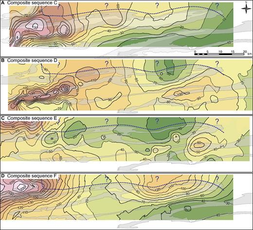 Lowstand sequence set sandstones and transgressive/highstand sequence set mudstones have been combined into maps showing stacking patterns for the four composite sequences. Thin areas are indicated by cold colors (greens) and thick areas with warm colors (pinks). Contours are in meters. Dashed line with question marks indicates area beyond outcrop control.