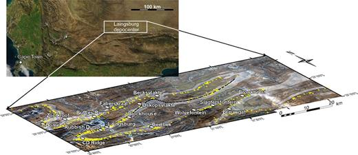 Location of the study area and outcrop pattern (in gray). Overall paleoflow direction is to the northeast and east and exposures along postdepositional fold limbs provide a series of dip sections as much as 100 km long. Basal positions of logged sections are marked in yellow. The line of section of Figure 5 is shown by the black dashed line. Aerial photographs are from NASA Visible Earth (National Aeronautics and Space Administration, http://visibleearth.nasa.gov/; regional scale) and Chief Directorate: National Geo-spatial Information, South Africa (http://www.ngi.gov.za/; Laingsburg depocenter).