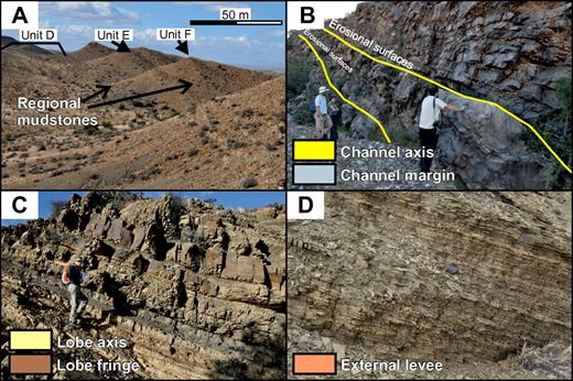 Examples of the main facies associations and their color coding on the correlation panel (Fig. 5) and maps (Figs. 6, 7, 8, and 10). (A) The mapped regional mudstone drapes over the sand-prone units are interpreted as combined transgressive and highstand sequence sets. (B) Channel fills vary from sandstone filled (base of slope) to mixed lithologies in slope settings. Channel-margin deposits are commonly thin bedded. (C) Lobe complexes dominate the downdip areas of lowstand sequence sets and axis, off-axis, and fringe settings are recognized. (D) Thin-bedded silt-rich external levees are volumetrically the most common component on the submarine slope.
