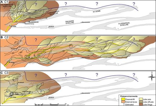 Thickness isopach and gross depositional environment maps for the individual constituent lowstand systems tracts (C1, C2, and C3) of the Unit C lowstand sequence set. Positions of channels are tied to outcrop location, but lobe boundaries are not precise positions. The grayed areas show the outcrop control along the limbs of postdepositional folds over a study area of 2500 km2. Note the clear progradational to retrogradational stacking pattern with maximum sand delivery to the basin floor during the C2 lowstand systems tract.