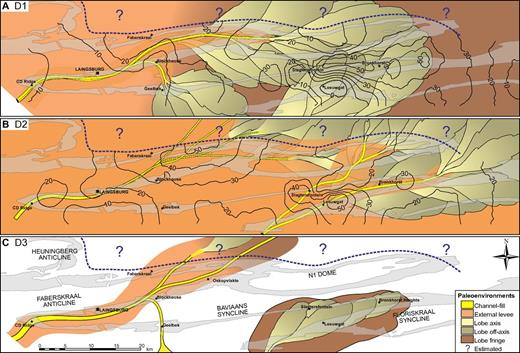 Thickness isopach and gross depositional environment maps for the individual constituent lowstand systems tracts (D1, D2, D3) of the Unit D lowstand sequence set. Positions of channels are tied to outcrop location, but lobe boundaries are not precise positions. A common indicator of progradation is the juxtaposition of external levee over lobe deposits. No isopach contours have been added to D3 due to uncertainties in the division of D2 and D3 in many areas.