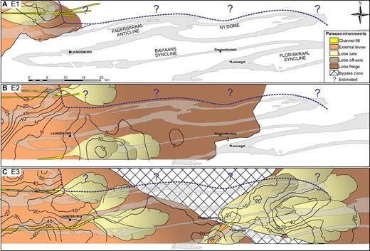 Thickness isopach and gross depositional environment maps for the individual constituent lowstand systems tracts (E1, E2, and E3) of the Unit E lowstand sequence set. Positions of channels are tied to outcrop location, but lobe boundaries are not precise positions. Note the clear progradational trend of successive lowstand systems tracts and the sand- and/or sandstone-detached lobes within E3. Updip data partly from Figueiredo et al. (2010).