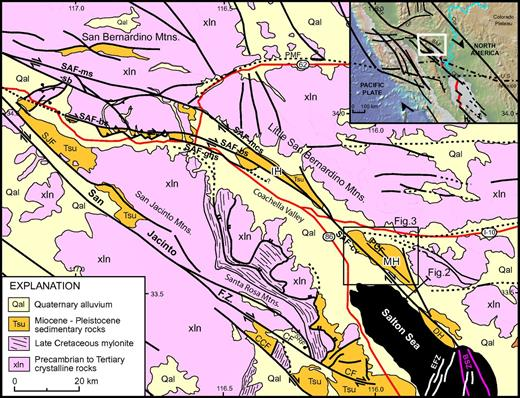 Simplified geologic map of the Coachella Valley region (compiled from Jennings, 1977; Matti et al., 1992; Powell, 1993; Axen and Fletcher, 1998; Janecke et al., 2010; Weldon, 2011, personal commun.), with faults shown in black and highways in red. Inset shows location within southwestern North America. Abbreviations: BSZ—Brawley seismic zone; CCF—Coyote Creek fault; CF—Clark fault; CPF—Cerro Prieto fault; DH—Durmid Hill; EFZ—Extra fault zone; GF—Garlock fault; IH—Indio Hills; MH—Mecca Hills; PCF—Painted Canyon fault; PMF—Pinto Mountain fault; SAF—San Andreas fault: -bs—Banning strand; -cv—Coachella Valley segment; -ghs—Garnet Hill strand; -ms—Mill Creek strand; -mcs—Mission Creek strand; -sb—San Bernardino segment; SJF—San Jacinto fault; SRF—Santa Rosa fault.