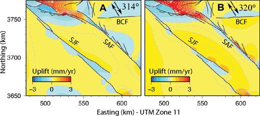 Contoured uplift rates in the Coachella Valley region for preferred Model D, corrected for isostasy. (A) Uplift rates obtained from tectonic loading applied at 314°, subparallel to the average trace of the Coachella Valley segment of the San Andreas fault (SAF) and (B) tectonic loading applied at 320°, true to observation of relative plate motion between Pacific and North American plates.