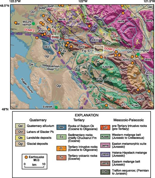 Geologic map of eastern half of Darrington–Devils Mountain fault zone and environs (modified from digital 1:100,000 scale geologic map files from Washington Division of Geology and Earth Resources, 2010). Probable Holocene-active section of Darrington–Devils Mountain fault zone is shown in red; seismicity (orange circles) is from same catalog as Fig. 1B.