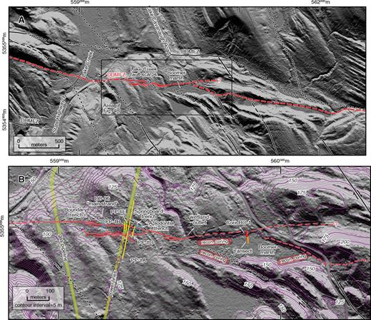 """Map of Darrington–Devils Mountain fault zone (DDMFZ) in vicinity of Lake Creek (see Figs. 2 or 3 for figure location). (A) Overview map showing Holocene-active (red lines) and other traces (black lines) of Darrington–Devils Mountain fault zone and ancillary faults, modified from Dragovich and DeOme (2006). Long-dashed faults are inferred; short-dashed faults are concealed. (B) Enlarged map showing locations of three trenches from current study (heavy blue lines), and approximate locations of four trenches from previous investigations (yellow lines) related to proposed Skagit Nuclear Power Project (Puget Power, 1974). Also shown are locations of core BO-1 (red circle), detailed coring transect (heavy orange line) and areas of reconnaissance coring in Boomer marsh. Solid red lines mark the locations of fault scarps along the trace of Darrington–Devils Mountain fault zone as mapped on light detection and ranging (LiDAR) digital elevation models (DEMs) in the current study; dashed red lines where inferred. Long-dashed black line just north of our trenches is left-lateral, south-side-up oblique """"main strand"""" as mapped by Dragovich and DeOme (2006). NW-striking black lines are right-lateral bedrock faults thought to be subsidiary to Darrington–Devils Mountain fault zone (Dragovich and DeOme, 2006). Base map is hillshaded DEM derived from LiDAR data (pixel size 1.8 m) from Puget Sound LiDAR Consortium; illumination from azimuth 05°, at 5° above the horizon; datum is NAD83, UTM zone 10N."""