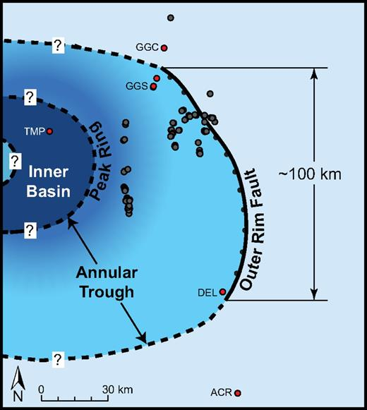 Map view of the impact region outlining the Alamo impact crater and the possible location (dotted lines and question marks) of its complex crater features. The majority of localities within the region are within the annular trough of the crater. A minimum crater diameter of ∼100 km was measured between the control points shown. Reconstructed locality positions. ACR—Arrow Canyon Range locality; DEL—Delamar Mountain locality; GGN—Golden Gate central locality; GGS—Golden Gate south locality; TMP—Tempiute Mountain locality.