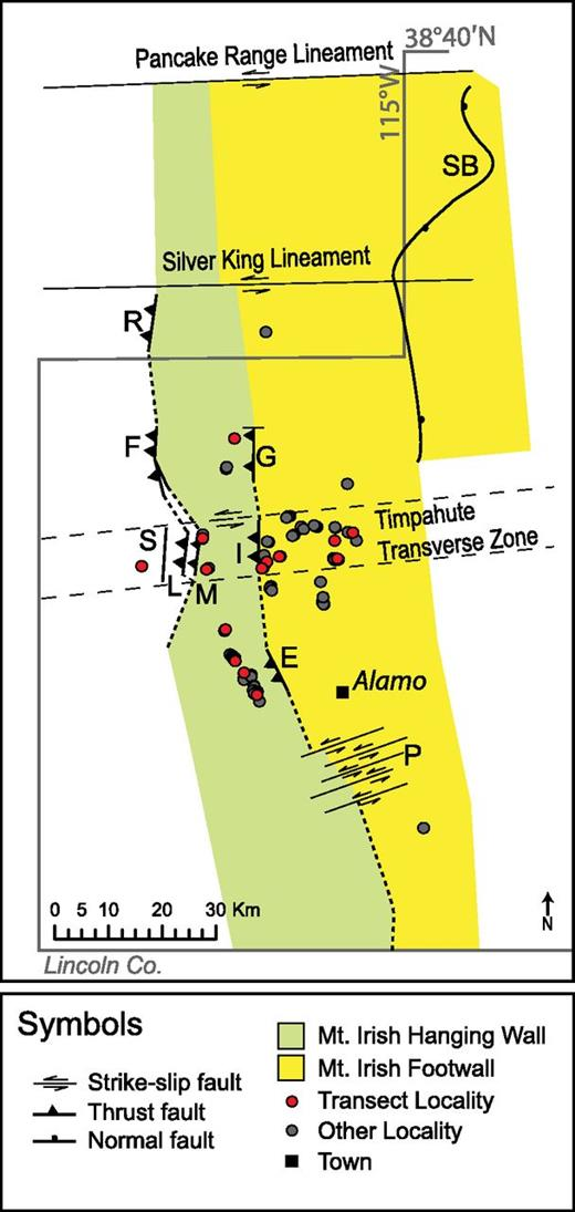 Map of structural features that significantly affected the location of Devonian outcrops examined in this study. E—East Pahranagat fault; F—Freiberg thrust; G—Golden Gate thrust; I—Mount Irish thrust; L—Lincoln thrust; M—Monte Mountain thrust; P—Pahranagat shear zone (modified from Sheffield, 2011); R—Rimrock; S—Schofield Pass fault; SB—Seaman breakaway.