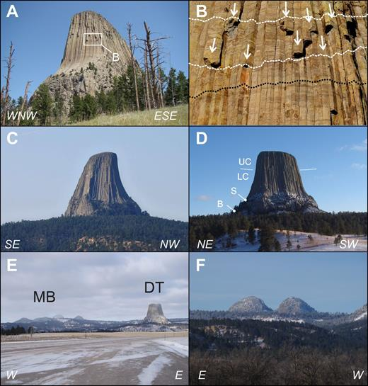 Field photographs of Devils Tower and Missouri Buttes with orientation indicated. (A) Southwestern side of the tower shows vertical and horizontal joints of the base and curved columns plunging to the west. (B) Detail of the southwestern wall shows apparent compositional layering as dark horizontal streaks across the columns (stippled black line), and a suture between the upper and lower colonnades indicated by columns of the upper colonnade that split to two or three narrower columns of the lower colonnade (indicated by arrows). Dashed white lines indicate broad suture between both colonnades. (C) The asymmetrical shape of Devils Tower, with straight columns plunging at ∼65° on the southeast and curved columns on the northwest, is seen best from the northeast. (D) In contrast, view from the northwest shows symmetrical shape of subvertical columns on both sides with slight bend to shallower plunge angles on their lower ends. B—base, S—shoulder, LC—lower colonnade, UC—upper colonnade. (E) Missouri Buttes, located ∼5 km northwest from Devils Tower, represented by 5 separate phonolite bodies distributed along a periphery of a north-south elongated ellipse of short and long axes of 1 and 2 km, respectively. (F) Two northern buttes of Missouri Buttes in a view from the north.