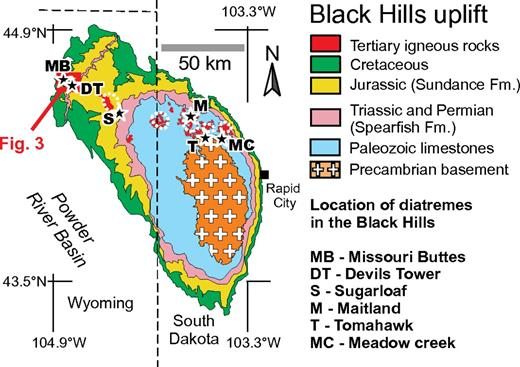 Schematic map of the Black Hills, which represent a lithospheric-scale uplift exposing Precambrian basement in its core and the entire section of the Phanerozoic sedimentary cover. Cenozoic igneous centers associated by domes in the host rocks are aligned in west-northwest–east-southeast direction across the uplift. Stars show locations of the six diatremes in the Black Hills (after Lisenbee and Roggenthen, 1990).