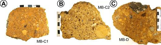 Photographs of the sections through samples. Volcaniclastic rocks collected reveal abundant fragments of different lithologies and various sizes. (A, B) Rocks from the central part of Missouri Buttes. Note apparent amoeboidal vesicles in sample MB-C2. (C) Rock from the outcrops 0.8 km west of the buttes. Note the large unweathered phonolite clast in the top part of sample MB-D.