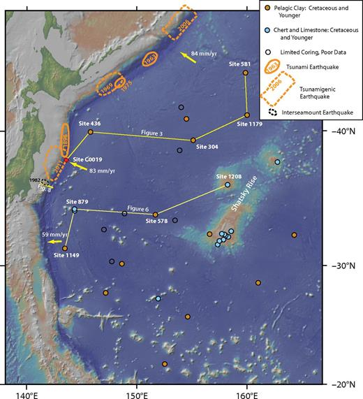 Northwest Pacific DSDP (Deep Sea Drilling Project), ODP (Ocean Drilling Program), and IODP (Integrated Ocean Drilling Program) holes (sites identified in Fig. 3 caption) with locations and dates of tsunami and tsunamigenic earthquakes (Fukao, 1979; Schwartz et al., 1989; Lay et al., 2009; Polet and Kanamori, 2009; Chester et al., 2013). An example of a small interseamount earthquake is shown just south of the 2011 Tohoku earthquake (Mochizuki, et al., 2008). The epicenter of this small earthquake is at the east-southeast extent of the rupture zone. In this figure, the ocean drilling boreholes are classified as those that show sections of pelagic clay sandwiched between chert-bearing Cretaceous rocks covered by muddy sediments containing varying amounts of radiolarians, diatoms, and volcaniclastic and terrigenous materials (in orange), and those with no significant intervals of pelagic clay but sections of chert, limestone, and locally Miocene and younger mudstone containing radiolarians, diatoms, and volcanic and terrigenous materials (in blue). Base map is from Ryan et al. (2009) and site locations and basic stratigraphic information are from GeoMapApp (http://www.geomapapp.org). For detailed stratigraphic information at drill sites from relevant DSDP, ODP, and IODP site reports, see Shipboard Scientific Party (1975, 1980, 1985a, 1985b, 1993, 2001, 2002) and Expedition 343/343T Scientists (2013).