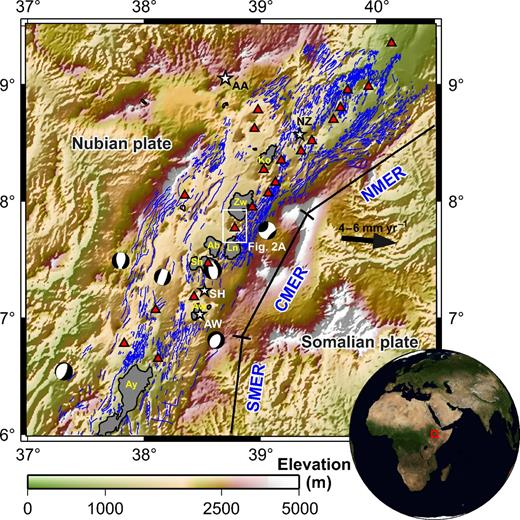 Topographic map of the Main Ethiopian Rift (MER) indicating the three main sectors (northern, central and southern, i.e., NMER, CMER, and SMER). The surface faults (mapped by Agostini et al., 2011) are shown in blue. Earthquake locations and focal mechanisms for the region are from the Global Centroid Moment Tensor Project catalogue (http://www.globalcmt.org; 1976–2012; M > 5). Red triangles identify volcanic centers thought to have been active in the Holocene (Siebert and Simkin, 2002). White stars identify major centers of population (after the Socioeconomic Data and Applications Center, http://sedac.ciesin.columbia.edu/): AA—Addis Ababa; NZ—Nazareth; SH—Shashemene; AW—Awassa. Lakes outlined in the MER: Ko—Lake Koka; Zw—Lake Ziway; Ln—Lake Langano; Ab—Lake Abijta; Sh—Lake Shala; Aw—Lake Awasa; Ay—Lake Abaya. The Aluto volcanic complex is located within the white rectangle (Fig 2A).