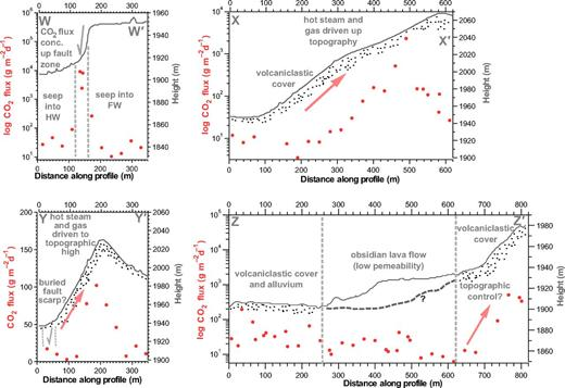 CO2 degassing transects across the Artu Jawe fault zone that correspond to the transect lines W–W′, X–X′, Y–Y′, and Z–Z′ in Fig. 10C. HW—hanging wall, FW—footwall, conc.—concentrated. The red points give the observed CO2 flux (left axis), and the gray line gives the topography (right axis). Black stipples indicate poorly consolidated volcaniclastic deposits or alluvial cover. Note differences in vertical scales between plots.