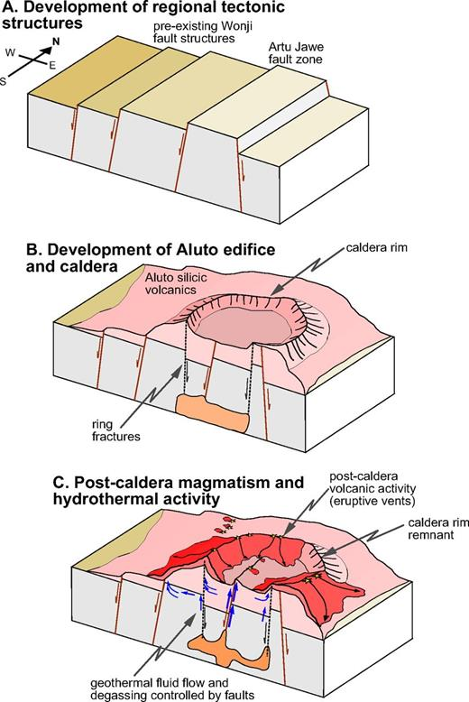 Conceptual model summarizing the evolution of the major structures on Aluto and their controls on surface volcanism, geothermal fluids, and degassing. (A) Regional tectonic structures aligned with the Wonji faults develop prior to surface volcanism, creating fault-bounded blocks over which abrupt lateral thickness variations in the deep well lacustrine sediments occur (Fig. 2B). (B) Surface volcanism at Aluto builds a silicic shield, which then undergoes caldera collapse. The dynamics of caldera formation remain unclear, because most of the structure has either been removed by erosion or buried by subsequent volcanic deposits. (C) Post-caldera volcanic eruptions, as well as ongoing geothermal activity and degassing processes, exploit the existing volcanic and tectonic fault network. While various fault structures provide high permeability zones for fluid flow (Fig. 9, B–B′), the Artu Jawe fault zone appears to represent the main pathway connecting the hydrothermal reservoir to the surface (Teklemariam et al., 1996).