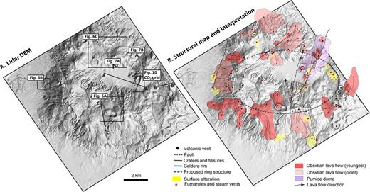 (A) Lidar hillshade DEM covering the main edifice of Aluto volcano (black box in Fig. 4). Black box insets link to Figures 6 and 10, where detailed imagery and interpretation of the volcanic features are given. Black triangular features show the viewing direction for the three-dimensional DEM imagery given in Figure 7. The light blue lines A–A′, B–B′, and C–C′ correspond to the CO2 degassing transects given in Figure 9. (B) Structural map and interpretation of the DEM imagery. The older, more weathered obsidian lava flows of Aluto are covered in a thin shower of gray pumice, unlike the younger obsidian lavas. The lidar data set used in this study is doi:10.6084/m9.figshare.1261646.