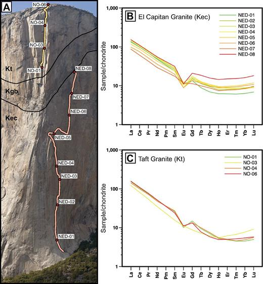 (A) Photograph of the locations of two vertical transects selected for rare-earth element (REE) analysis. The tan-colored transect in the upper part of the photograph is on the Nose and is entirely within Taft Granite. The peach-colored transect below it is on the route New Dawn and is entirely within El Capitan Granite. The black lines are the approximate lines of contact between the El Capitan Granite (Kec), tonalite of the Gray Bands (Kgb), and the Taft Granite (Kt). Photograph courtesy of www.xRez.com. (B) Chondrite-normalized REE pattern within the El Capitan Granite transect, spanning 530 m elevation. (C) Chondrite-normalized REE pattern within the Taft Granite transect, spanning 180 m elevation. In both (B) and (C), REE patterns are color coded with red as the highest elevation and green as the lowest. Both patterns lack the progressive depletion of compatible elements with elevation predicted by fractional crystallization. Chondrite normalization values are from Sun and McDonough (1989).
