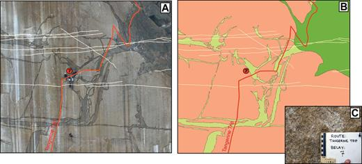 Example of mapping methods. (A) and (B) are the area around the 7th belay on Tangerine Trip (Fig. 3), which is indicated by the circled 7 on both images. Note the climbers around the belay for scale. (A) High-resolution image with the contacts of units digitized. (B) Map displays the assigned units. Pink is El Capitan Granite (Kec); light green is dikes of the Oceans (Kdo); and dark green is the diorite of North America (Kd). Light-yellow lines are aplite dikes, and the thick dark red line is the path of the climbing route. (C) Photograph taken at this location courtesy of www.xRez.com.