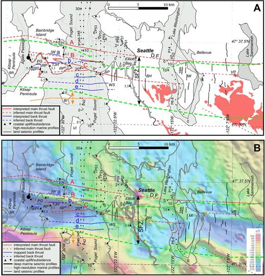 (A) Map showing the surface projections of interpreted faults and folds, and the locations of high-resolution marine reflection-seismic profiles. Red lines are the locations of south-dipping thrust faults at the surface or seafloor; blue lines are locations of north-dipping backthrusts; dashed green lines are the location of the deformation front and south edge of Seattle fault zone in Blakely et al. (2002). The black lines denote the seismic profiles, with dots showing the kilometer marks on the profiles displayed in this paper. Other symbols and annotations are the same as in Figure 1. (B) Magnetic anomaly map of the Seattle fault zone from Blakely et al. (1999) with the same interpretation and seismic profiles shown in part A of the figure.