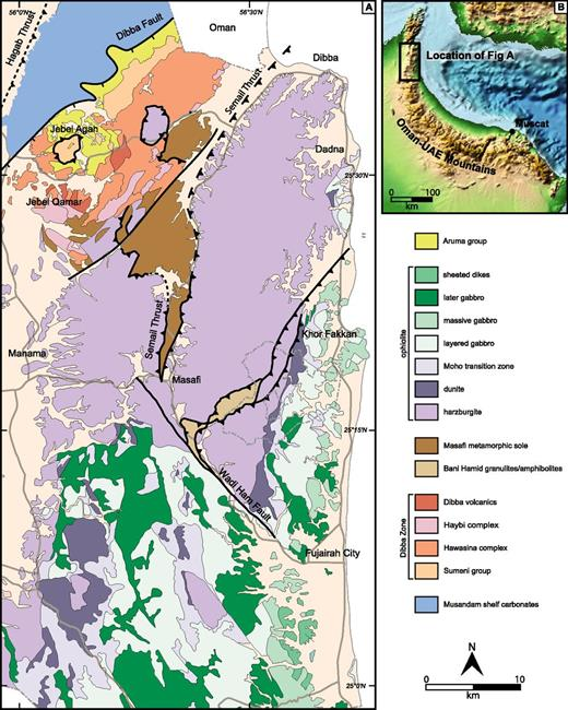 Geological map of the Oman mountains showing location of the Bani Hamid area. UAE—United Arab Emirates.
