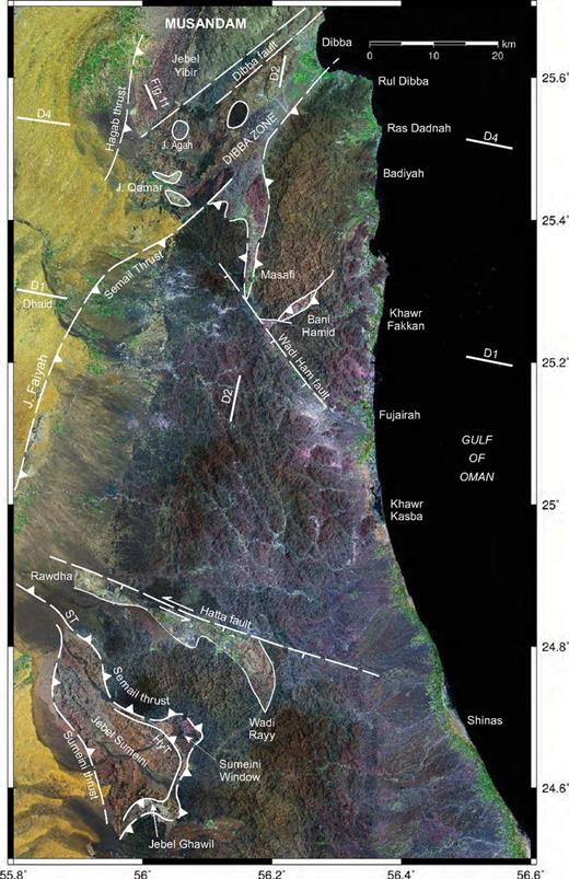 Landsat photo of the mountains of northern Oman–United Arab Emirates showing key structural features and location of the Bani Hamid thrust sheet. Also shown are lines of the D1 and D4 seismic profiles. J.—Jebel; ST—Semail thrust; Hyb—Haybi thrust.