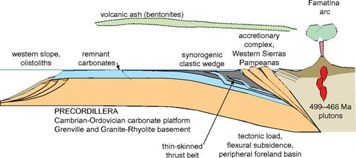Diagrammatic cross section of tectonic model for the Middle–Late Ordovician foreland basin and clastic wedge in the context of accretion of the Precordillera to Gondwana and the Ocloyic orogeny.