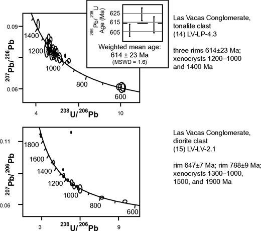 Tera-Wasserburg diagrams of U/Pb analyses of zircons from two igneous clasts (14.LV-LP-4.3, 15.LV-LV-2.1) in the Las Vacas Conglomerate (sample locations shown in Figures 1 and 2, and documented in Supplemental Table 2; data listed in Supplemental Table 2 [see footnote 3]).