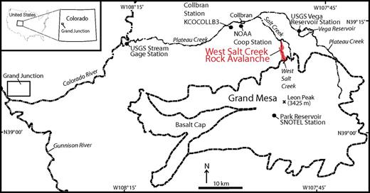 Map showing the location of the West Salt Creek rock avalanche. The rock avalanche covered an area of 2,448,988 m2 (2.45 km2). The West Salt Creek drainage basin is 7.6 km2, with ∼2.0 km2 located upslope from the head of the rock avalanche. USGS—U.S. Geological Survey; NOAA—National Oceanic and Atmospheric Administration.