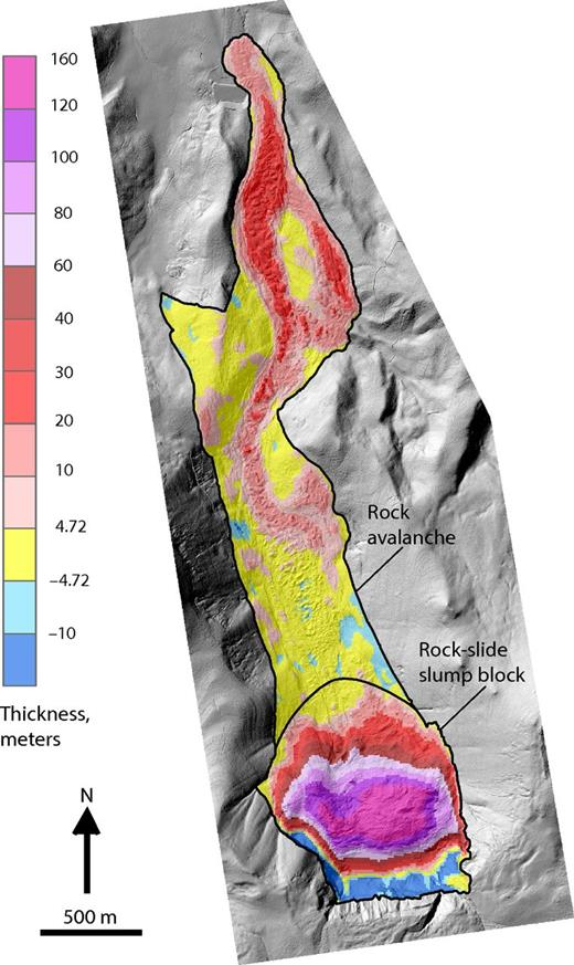 Thickness map overlain on shaded-relief lidar data.