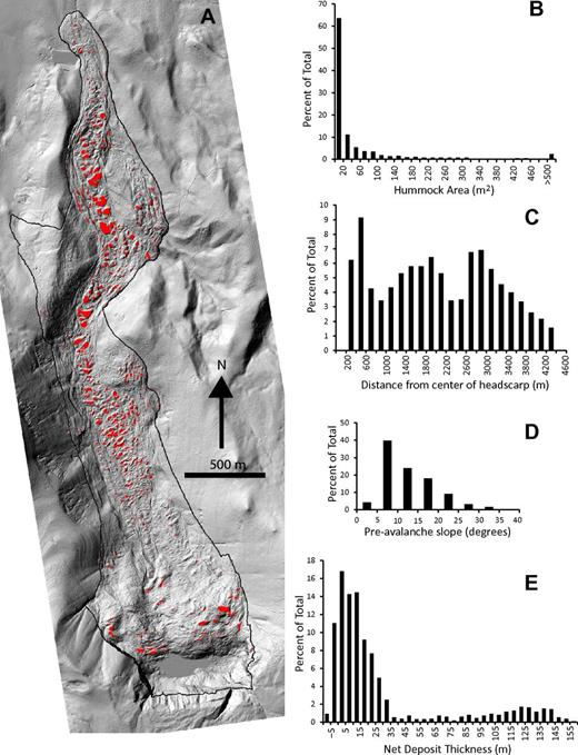 (A) Map of hummocks (red) on the surface of the West Salt Creek rock avalanche. (B-E) Hummock statistics.