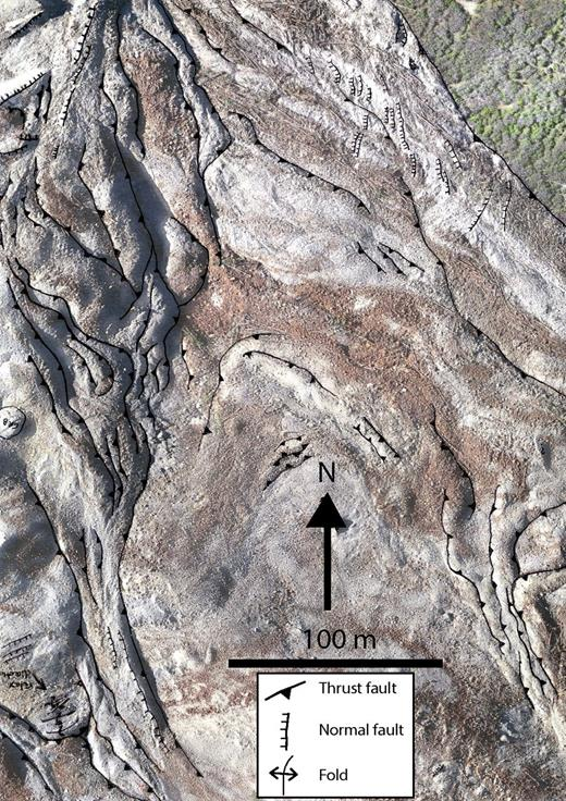 Example of an unmanned aircraft system image at West Salt Creek with structures from field mapping. See Figure 7 for location of image.