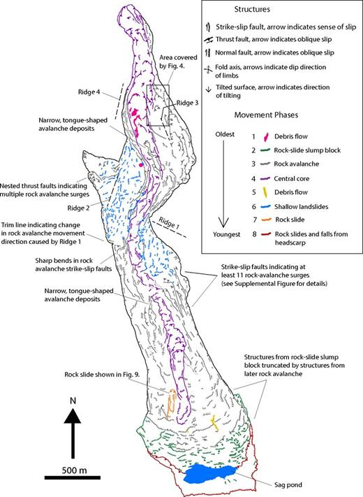 Simplified structural map. See the Supplemental Figure (see footnote 1) for a detailed map. Structures reveal eight major phases of movement, ranging from phase 1, which occurred ∼10 h before the main rock avalanche (phase 3), to phase 8, which is ongoing (as of September 2015).