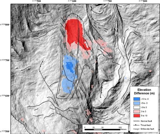 Rock slide (movement phase 7; see Fig. 7). Elevation difference from digital elevation models (DEMs) derived from DigitalGlobe WorldView-2 satellite imagery (18 August 2014 DEM minus 7 June 2014 DEM). Structures are from field mapping. Lidar base was acquired prior to rock-slide movement. The coordinates shown are UTM zone 13.