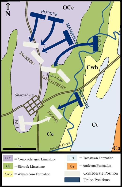 Carbonate rocks and american civil war infantry tactics geosphere three phases of the battle of antietam superimposed on a geologic map of the battleground fandeluxe Choice Image
