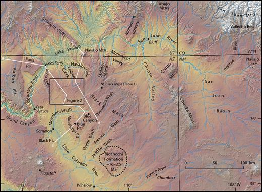 Study area in the eastern Grand Canyon region of the southwest Colorado Plateau, northeastern Arizona. Mtn—mountain; Plt.—plateau; Res—reservoir.