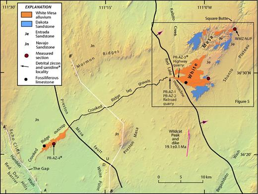 Topical geologic map of study area showing distribution of White Mesa alluvium in White Mesa–Crooked Ridge area. Wildcat Peak is a prominent erosional feature of volcanic origin composed of monchiquite (Williams, 1936). Billingsley et al. (2012, and reference therein) reported an age of 19.1 ± 0.1 Ma for the southern dike. According to Lucchitta et al. (2013), the Crooked Ridge paleoriver predated Wildcat Peak volcanic activity.