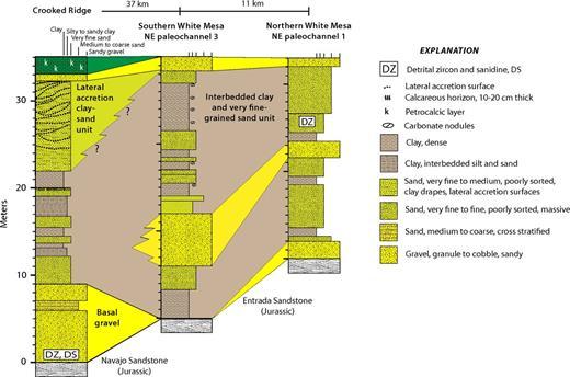 Stratigraphic correlation of White Mesa alluvium, Crooked Ridge to northern White Mesa (Fig. 2). Green is petrocalcic layer. NE—northeast paleochannel.