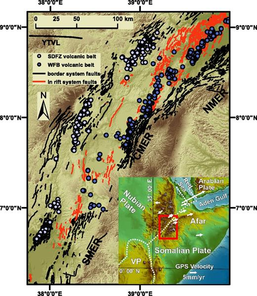 Volcano tectonic map of the Main Ethiopian Rift (MER; after Corti, 2009). The southern Main Ethiopian Rift (SMER), central Main Ethiopian Rift (CMER), and northern Main Ethiopian Rift (NMER) segments of the Main Ethiopian Rift are shown. The two main fault systems are also displayed as well as the two main Quaternary volcanic belts in the rift. The Silti–Debre Zeyit fault zone (SDFZ) is along the western rift border, and the Wonji fault belt (WFB) is along the actual rift axis. The Yerer–Tullu Wellel volcano-tectonic lineament (YTVL) is reported (after Abebe et al., 1998). Inset: Geodynamic framework of the MER; the white arrows represent the relative velocities along the East African rift system and adjoining areas in a Nubia-fixed reference frame (after Stamps et al., 2008; Corti, 2009); the red box represents the location of the studied area shown in Figure 2A. VP—Victoria Plate.