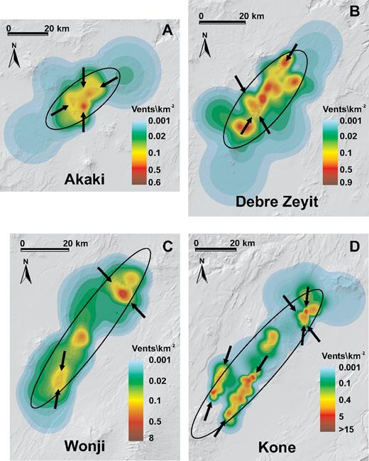 Vent density distribution maps from applying Equation (3) to the analyzed vent fields; the density matrices have cells with 119 m size corresponding to an area of 14 × 10–3 km2. The black arrows indicate the preferred elongation of the vent density maxima. In all maps, the ellipse derived from the respective eigenvectors of the principal component analysis (PCA) is sketched (black ellipse). (A) Akaki field; (B) Debre Zeyit field; (C) Wonji field; and (D) Kone field.