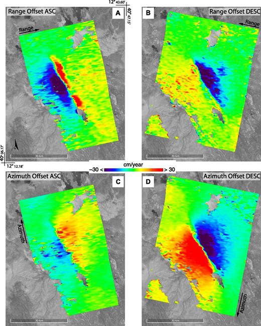 Mean deformation velocity maps retrieved from the pixel offset–small baseline subset (PO-SBAS) processing (matching window size, 128 pixels; undersampling, 8 pixels on both azimuth and range directions; spatial smoothing according to Casu et al., 2011) of Envisat data sets on the Afar depression, Ethiopia. A and B are relevant to the mean range offset velocity revealed for the ascending (ASC) and descending (DESC) orbits, respectively, while C and D refer to the azimuth offsets.